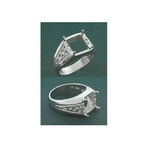 (10mm) Octagon Square Mens Sterling .925 Ring Setting (Ring Size 10 )