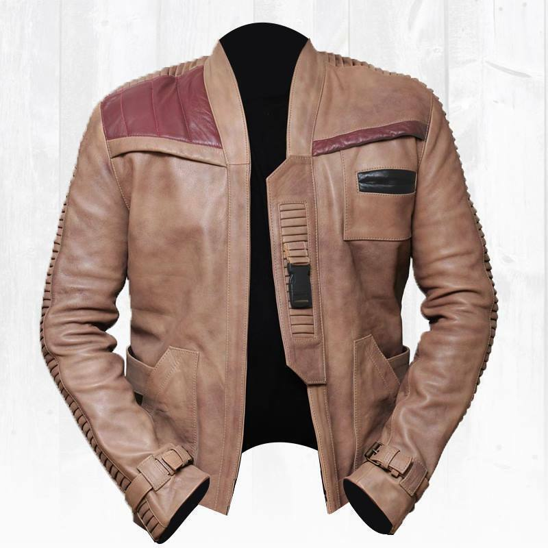Star Wars The Force Awakens Movie Finn John Boyega herren Antique Beige jacke