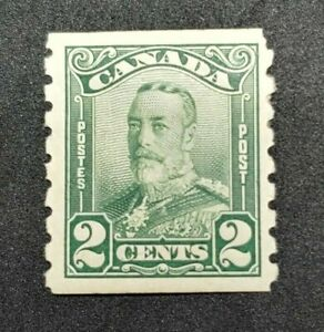 King George V Scroll Issue 1929 #161 coil MH OG small thin CV$100.00