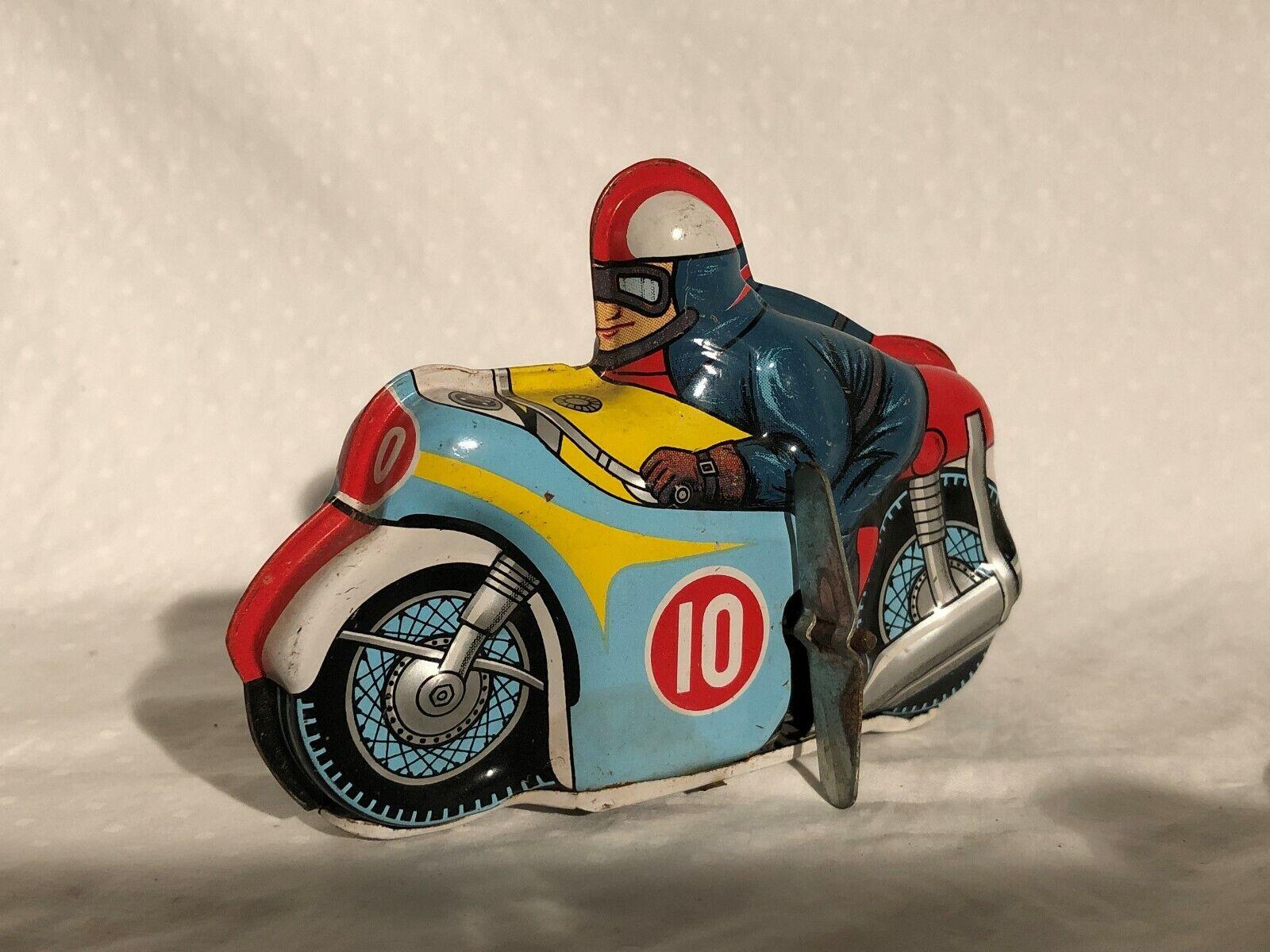 Yone Giappone 1960s Scatola di Latta a Carica Motocicletta Racer Giocattolo