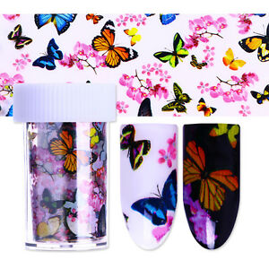 Butterfly-Sky-Colorful-Nail-Foil-Stickers-Floral-Transfer-Decal
