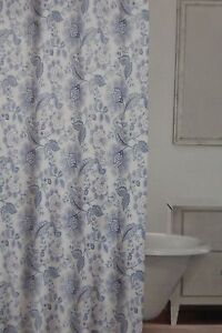Image Is Loading Caro Floral Blue Amp White Fabric Shower Curtain