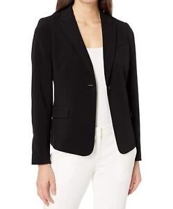 Lark & Ro Womens Blazer Deep Black Size 0 One-Button Solid Stretch $69 824