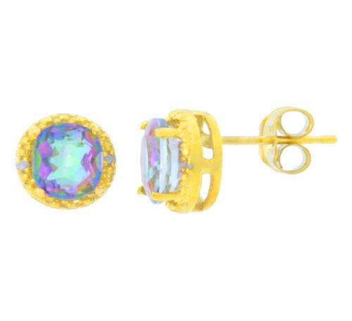 2 ct Genuine Mystic Topaz /& Diamant Clous d/'oreilles ronds 14Kt or JAUNE plaqué