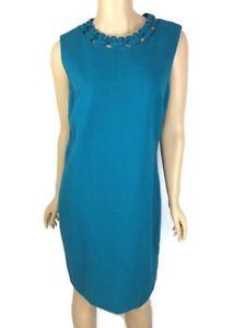 Diane-von-Furstenberg-Ayanna-Sheath-Dress-Size-12-Teal-Cutout-Knit-MSRP-398