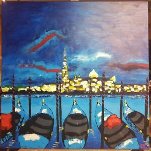 Tableau Venise Lysa Phillip peinture original painting Venice Venezia 威尼斯 البندق