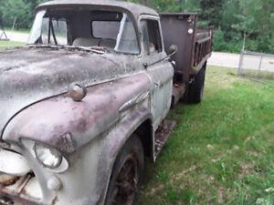 1957 Chevy truck on 2ton tilt bed dump box V8 complete trim ect