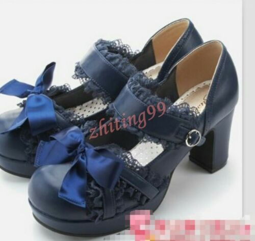 Ladys Lolita Sweet Retro Lace Womens Cute Mary Janes Shoes Chunky Mid Heel HOT