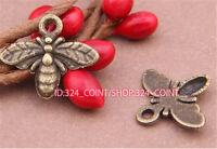 P490 50pcs Antique Bronze bees Pendant Bead Charms Accessories wholesale