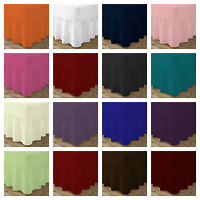 PLAIN DYED POLY-COTTON FITTED VALANCE SHEET FRILLED ,SINGLE✔ DOUBLE-✔KING  SIZE