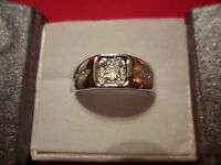 White Zircon Men's Ring In 925 Sterling Silver-size 10-0.53 Carats
