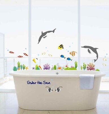 UNDER THE SEA BATHROOM DECOR/DOLPHIN&FISH WALL STICKERS KIDS BEDROOM VINYL PAPER