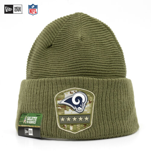 New era nfl los angeles rams a Salute to service 2019 onfield gorro beanie Olive