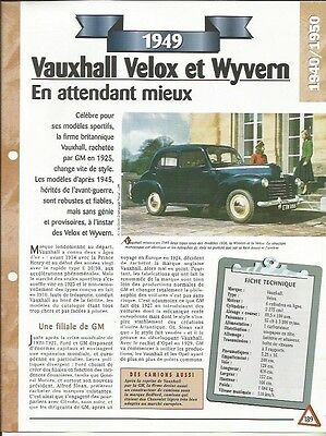 Onesto Voiture Vauxhall Velox Et Wyverne Fiche Technique Auto 1949 Collection Car