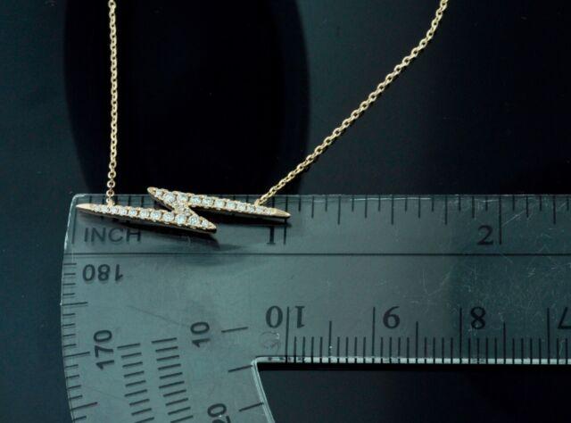 14k Rose gold diamond lightning necklace  0.19 ct dainty city stylish thunder