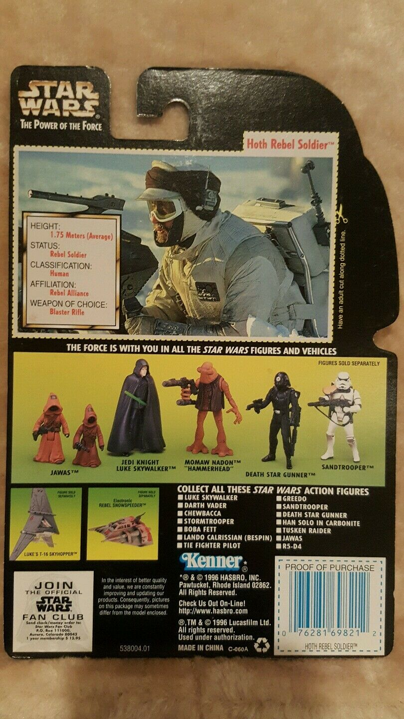 Kenner Star Wars Wars Wars The Power of the Force c1  Hoth Rebel Soldier proof card 213591