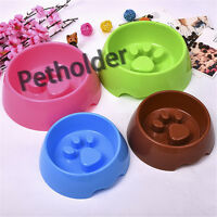 Pet Dog Cat Slow Eating Feeder Bowl Puppy Plastic Feed Bloat Dish 4 color