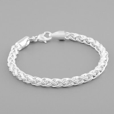 Women Lady 925 Sterling Silver Twisted Bracelet Chain Cuff Bangle Jewelry