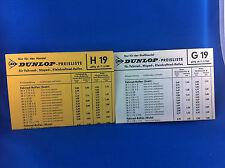 2 Dunlop Preislisten Fahrrad Moped Kleinkraftrad Reifen G19 H19 1969