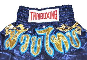 THAI-BOXING-MMA-PANT-MUAY-THAI-SHORTS-PANTS-KICK-FIGHTER-SIZE-L-NAVY-amp-GOLD