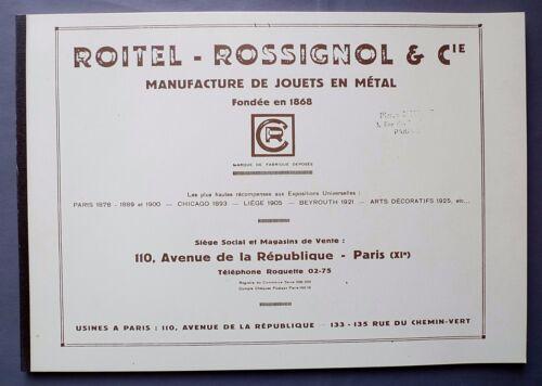 Catalogue fac-similé Les Jouets CR ROITEL ROSSIGNOL 1878//1925