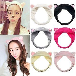 Cute Cat Ears Headband Hair Head Band Wash Shower Cap Hair Accessories