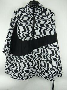 Nike-AOP-Big-Swoosh-Half-Zip-Jacket-Men-039-s-Size-L-Large-Black-White-A00862-100