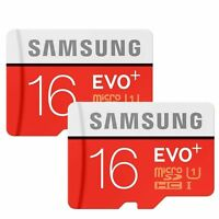 2 X Samsung Evo Plus 16gb Microsd Micro Sdhc C10 80mb/s Memory Card W/sd Adapter