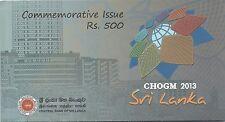 Sri Lanka CHOGM Commemorative  Banknote with folder UNC 2013
