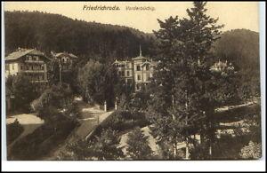 Friedrichroda-Thueringen-Postkarte-1915-gelaufen-Partie-in-Vorderbuechig