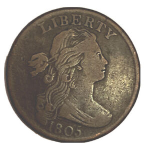 1805-Large-Cent-Draped-Bust-One-Cent-1c-High-Grade-XF-AU-Details-17065