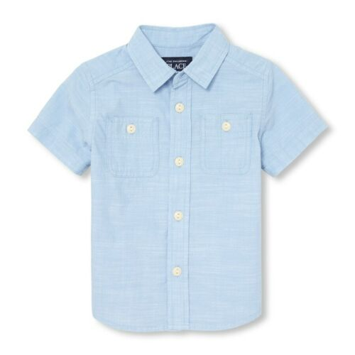 NWT The Childrens Place Toddler Boys Blue Chambray Button-Down Shirt 2T 3T 4T 5T