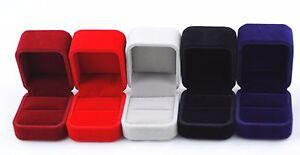1 Piece Velvet Jewelry Gift Box for Earrings Ring Burgundy Red Navy Gray Black
