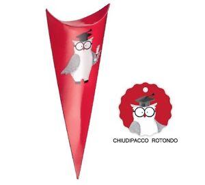 10-CONO-GUFO-PER-BOMBONIERA-LAUREA-MADE-IN-ITALY-CON-CHIUDIPACCO