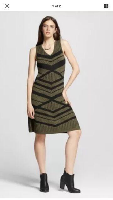 Mossimo Xs Sweater Dress Olive Green Black Stripe Sleeveless V Neck
