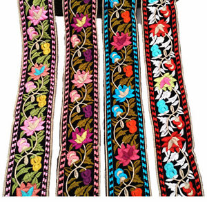 1-Yard-Flower-Embroidered-Trim-Floral-Bohemian-Ethnic-Ribbon-DIY-Sewing-Edging
