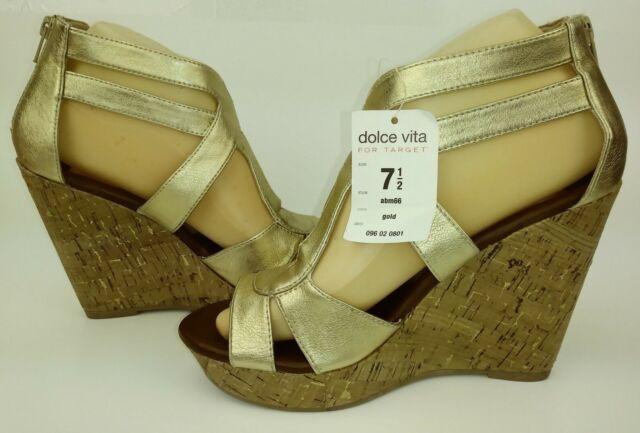 Dolce Vita Target Womens Sandals US 7.5 Gold Vegan Wedge Platforms 1104 for  sale online
