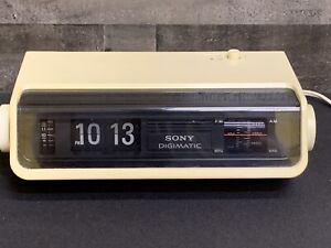 Vintage-Sony-TFM-C380W-Flip-Number-Radio-Alarm-Clock-Solid-State-Digimatic-WORkS