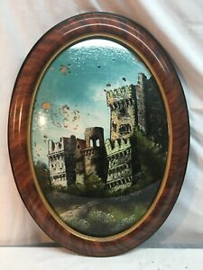 Vtg 1930's Tiger Stripe Oval Frame Reverse Castle Painting Picture  Convex Glass