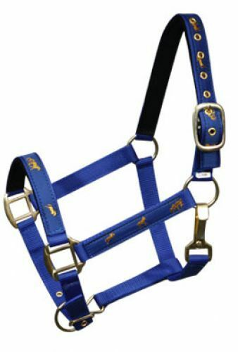 NEW HORSE TACK!! BLUE COBB Size 2 Ply Nylon Halter w// Running Horse Overlay!