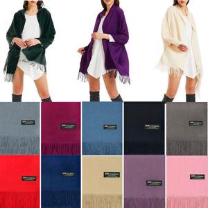 Women-Oversize-Poncho-Blanket-100-Cashmere-Scarf-Shawl-Wrap-Solid-Scotland-Wool