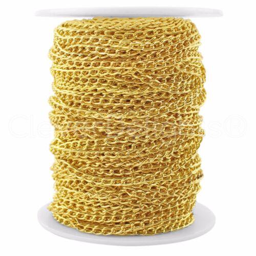 Bulk Roll Curb Chain Spool 100 Feet Gold 3x5mm Link