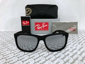 f4e66befc8 Details about Ray-Ban Justin RB4165 622 6G Wayfarer Sunglasses Matte Black Grey  Mirror 54mm