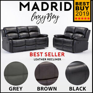 Details About Madrid Leather Sofa Lazyboy Recliner Suite Black Brown Grey 3 2 1 Seater Set