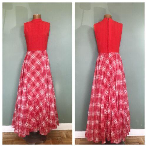 Vtg 60s Red Check Maxi Sundress / High Neck / Boho