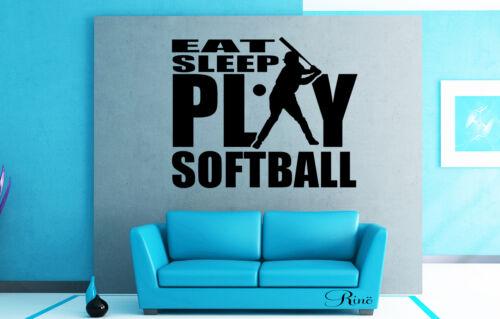 eat sleep play Softball player Wall art Decal sticker vinyl car window decor