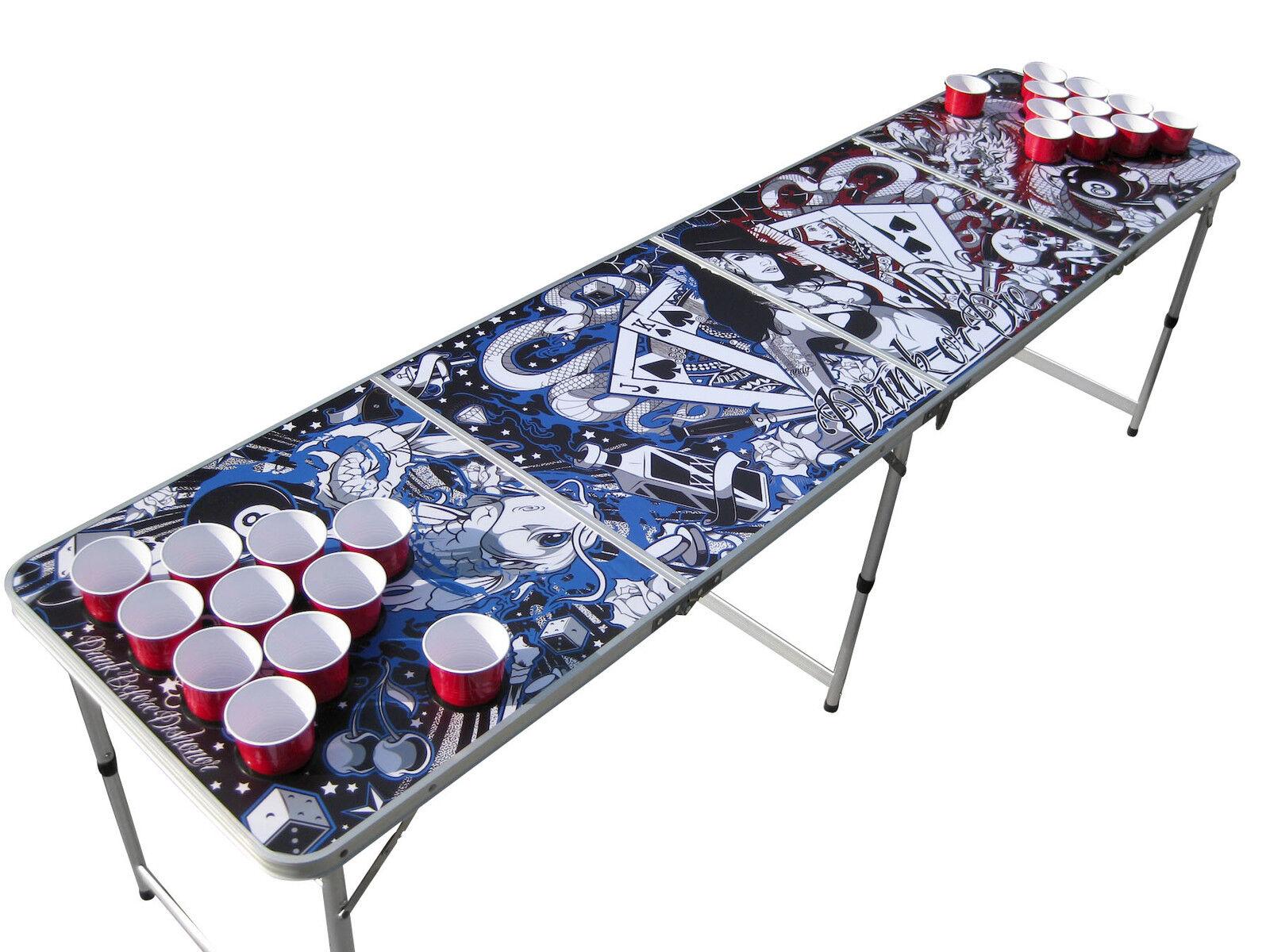 Portable Tattoo beer pong table w HOLES (dragons koi skulls cards guns liquor)
