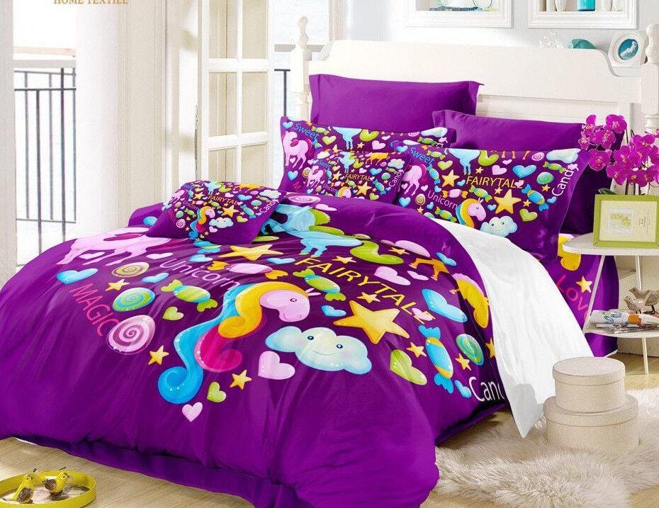 4pc. 3D Unicorn Multicolord US Twin Full Queen King Duvet Comforter Set