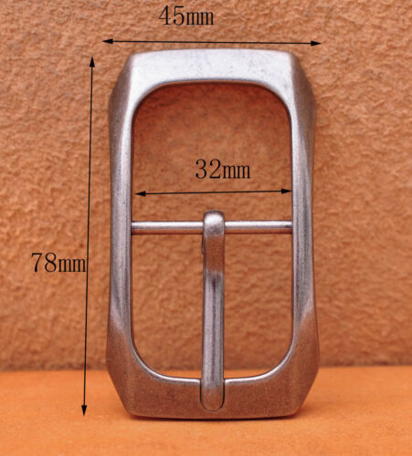 Arch Solid Rectangular Antique Silver Center Bar Pin Belt Buckle Fit 32mm Strap