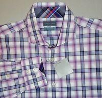 Men's Thomas Dean Magenta Jacquard Plaid L/s Shirt Xl Flip Cuffs